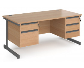 Value Line Classic+ Rectangular C-Leg Desk 2+3 Drawers (Graphite Leg)