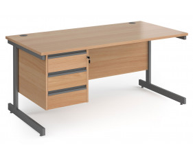 Value Line Classic+ Rectangular C-Leg Desk 3 Drawers (Graphite Leg)