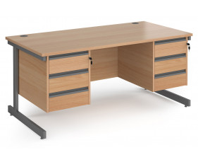 Value Line Classic+ Rectangular C-Leg Desk 3+3 Drawers (Graphite Leg)
