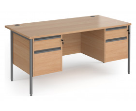 Value Line Classic+ Rectangular H-Leg Desk 2+2 Drawers (Graphite Leg)