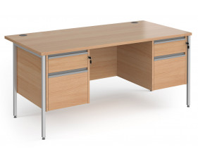 Value Line Classic+ Rectangular H-Leg Desk 2+2 Drawers (Silver Leg)