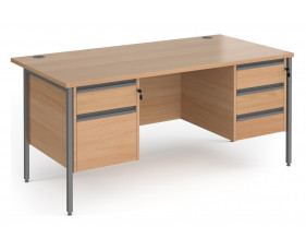 Value Line Classic+ Rectangular H-Leg Desk 2+3 Drawers (Graphite Leg)
