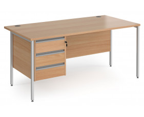 Value Line Classic+ Rectangular H-Leg Desk 3 Drawers (Silver Leg)