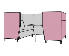 Niche Narrow 4 Seater Meeting Pod With Metal Legs