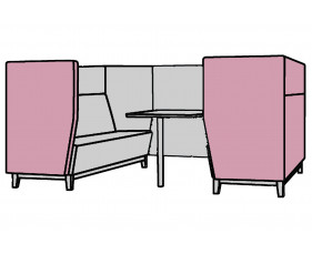 Niche Wide 6 Seater Meeting Pod With Wooden Legs