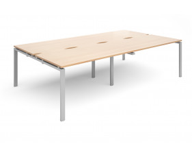 Prime Back To Back Double Bench Desk (Silver Legs)