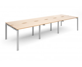 Prime Back To Back Triple Narrow Bench Desk (Silver Legs)