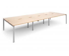 Prime Back To Back Triple Bench Desk (Silver Legs)