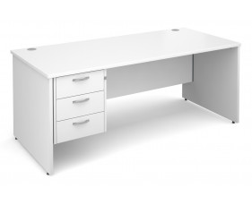 All White Premium Panel End Clerical Desk 3 Drawers