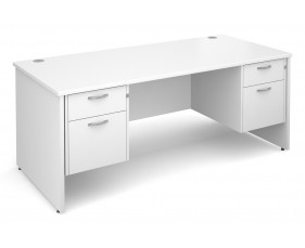 All White Premium Panel End Executive Desk 2+2 Drawers