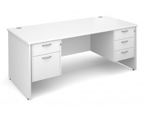 All White Premium Panel End Desk 2+3 Drawers