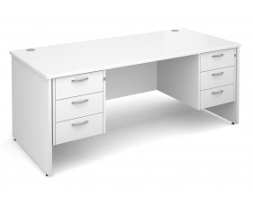 All White Premium Panel End Desk 3+3 Drawers