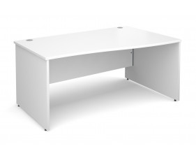 All White Premium Panel End Right Hand Wave Desk