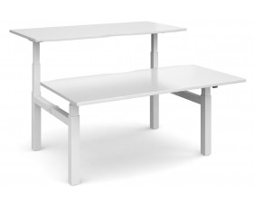 All White Premium Deluxe Sit & Stand Back-To-Back Desk