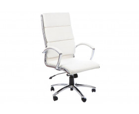 Andorra High Back Leather Faced Executive Chair (White)