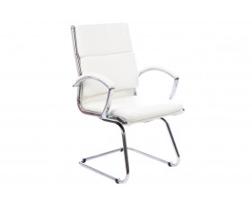 Andorra High Back Leather Faced Visitor Chair (White)