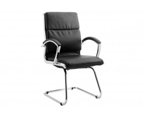 Andorra High Back Leather Faced Visitor Chair (Black)