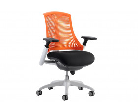 Warp White Frame Orange Mesh Back Operator Chair