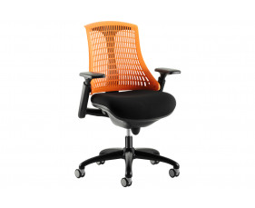 Warp Black Frame Orange Mesh Back Operator Chair