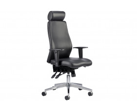 Brechin High Back Leather Faced Executive Chair With Headrest
