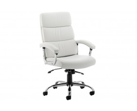 Crave High Back White Leather Faced Executive Chair