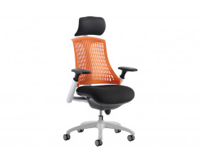 Warp White Frame Orange Mesh Back Operator Chair With Headrest