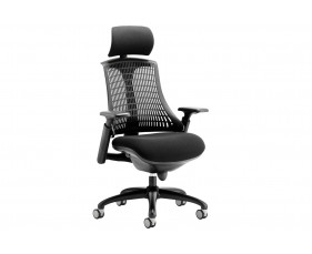 Warp Black Frame Black Mesh Back Operator Chair With Headrest