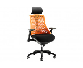 Warp Black Frame Orange Mesh Back Operator Chair With Headrest