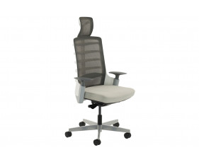 Arcadia Grey Mesh Back Posture Chair With Fabric Seat (Light Grey)