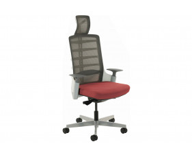 Arcadia Grey Mesh Back Posture Chair With Fabric Seat (Ginseng Chilli)