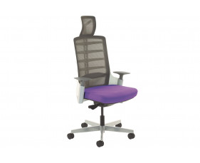 Arcadia Grey Mesh Back Posture Chair With Fabric Seat (Tansy Purple)