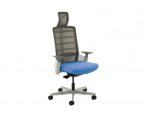 Arcadia Grey Mesh Back Posture Chair With Fabric Seat (Stevia Blue)