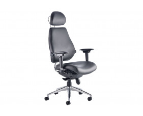 Praktikos Ultimate Black Leather Ergonomic Chair With Headrest