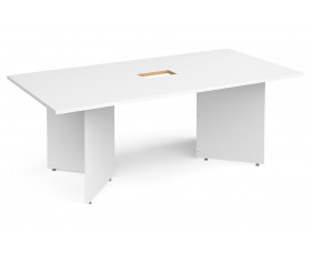 All White Premium Arrowhead Power Ready Rectangular Boardroom Table