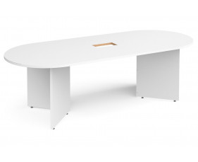 All White Premium Arrowhead Power Ready Radial End Boardroom Table