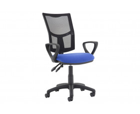 Lunar Plus 2 Lever Mesh Back Operator Chair (Fixed Arms)