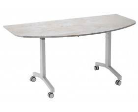 Delgado Flip Top D-End Meeting Table (Concrete)