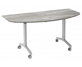 Delgado Flip Top D-End Meeting Table (Platinum Oak)