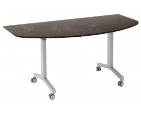 Delgado Flip Top D-End Meeting Table (Pitted Steel)
