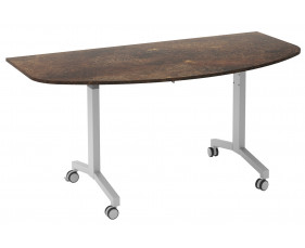 Delgado Flip Top D-End Meeting Table (Rusted Steel)