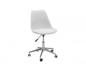Denning White Office Chair with Chrome Base