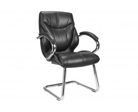 Kintyre Black Leather Faced Visitor Chair