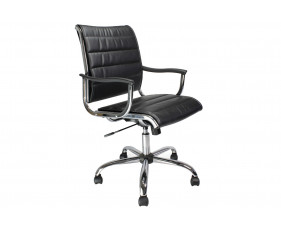 Havana Black Leather Faced Swivel Chair