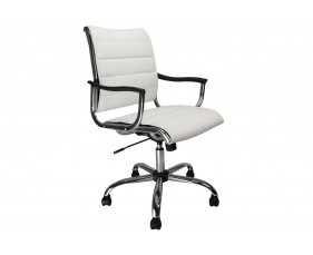 Havana White Leather Faced Swivel Chair