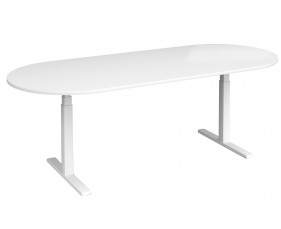 All White Premium Radial End Boardroom Table
