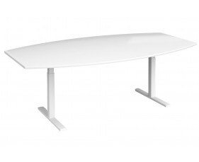 All White Premium Radial Boardroom Table