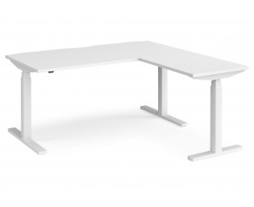 All White Premium Deluxe Sit & Stand Single Desk With Return