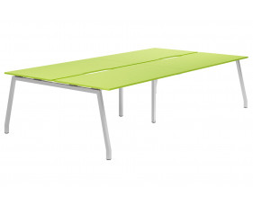 Next-Day Campos A-Frame 4 Person Back To Back Bench Desk (Green)