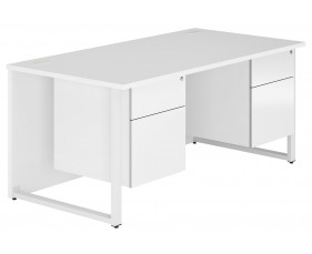 Indigo Hooped Leg Double Pedestal Desk (Frost White)