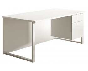 Indigo Hooped Leg Single Pedestal Desk (Frost White)